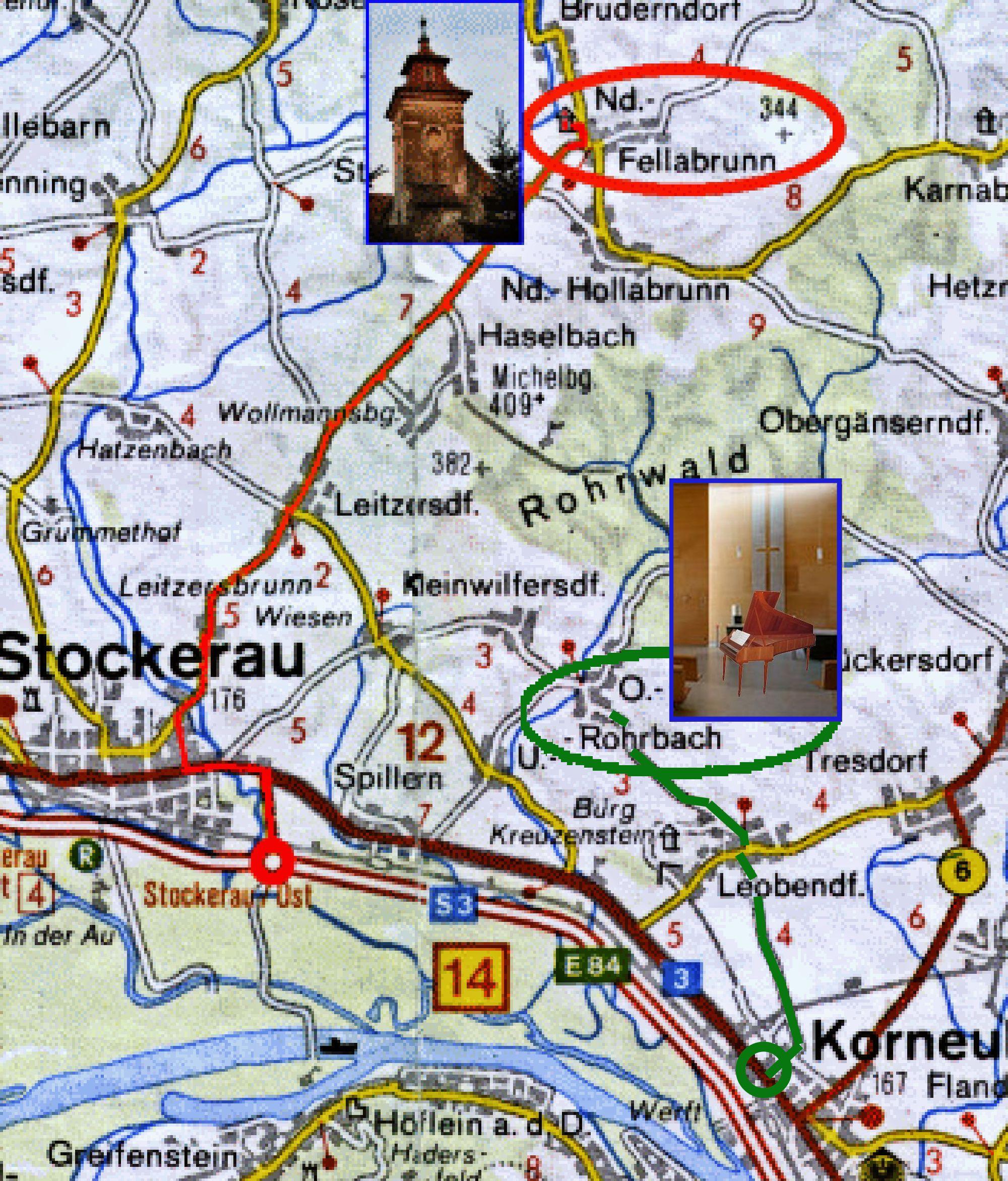 Zufahrten Niederfellabrunn und Oberrohrbach